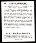 1939 Play Ball Reprints #84  Skeeter Newsom  Back Thumbnail