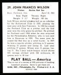 1939 Play Ball Reprints #29  Black Jack Wilson  Back Thumbnail