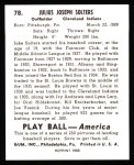 1939 Play Ball Reprints #78  Julius Solters  Back Thumbnail