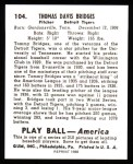 1939 Play Ball Reprints #104  Tom Bridges  Back Thumbnail