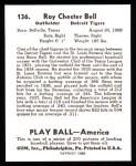 1939 Play Ball Reprints #136  Roy Bell  Back Thumbnail
