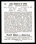 1939 Play Ball Reprints #10  James DeShong  Back Thumbnail