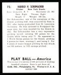 1939 Play Ball Reprints #73  Hal Schumacher  Back Thumbnail