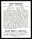 1939 Play Ball Reprints #16  John Peacock  Back Thumbnail