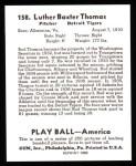 1939 Play Ball Reprints #158  Bud Thomas  Back Thumbnail