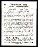 1939 Play Ball Reprints #37  Virgil Davis  Back Thumbnail