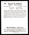 1939 Play Ball Reprints #147  George Coffman  Back Thumbnail