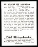 1939 Play Ball Reprints #97  Bob Johnson  Back Thumbnail