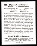 1939 Play Ball Reprints #131  Mort Cooper  Back Thumbnail