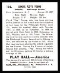 1939 Play Ball Reprints #102  Lem (Pep) Young  Back Thumbnail