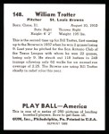 1939 Play Ball Reprints #148  Bill Trotter  Back Thumbnail