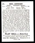 1939 Play Ball Reprints #21  Dutch Leonard  Back Thumbnail