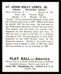 1939 Play Ball Reprints #47  Buddy Lewis  Back Thumbnail