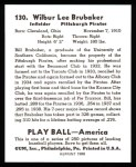 1939 Play Ball Reprints #130  Bill Brubaker  Back Thumbnail