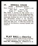 1939 Play Ball Reprints #59  Ken Chase  Back Thumbnail