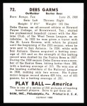 1939 Play Ball Reprints #72  Debs Garms  Back Thumbnail