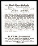1939 Play Ball Reprints #145  Hugh Mulcahy  Back Thumbnail
