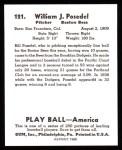 1939 Play Ball Reprints #121  Bill Posedel  Back Thumbnail