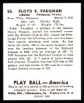 1939 Play Ball Reprints #55  Arky Vaughan  Back Thumbnail
