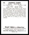 1939 Play Ball Reprints #62  Tom Carey  Back Thumbnail