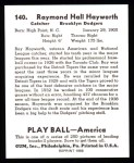 1939 Play Ball Reprints #140  Ray Hayworth  Back Thumbnail
