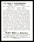 1939 Play Ball Reprints #110  Fred Fitzsimmons  Back Thumbnail