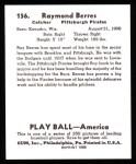 1939 Play Ball Reprints #156  Ray Berres  Back Thumbnail