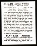 1939 Play Ball Reprints #89  Lloyd Waner  Back Thumbnail