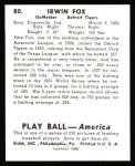 1939 Play Ball Reprints #80  Pete Fox  Back Thumbnail