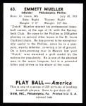 1939 Play Ball Reprints #63  Emmett Mueller  Back Thumbnail