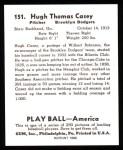 1939 Play Ball Reprints #151  Hugh Casey  Back Thumbnail