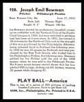 1939 Play Ball Reprints #128  Joe Bowman  Back Thumbnail