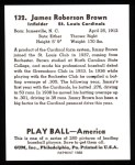 1939 Play Ball Reprints #132  Jim Brown  Back Thumbnail