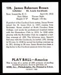 1939 Play Ball Reprints #132  Jim Brown  Back Thumbnail
