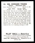 1939 Play Ball Reprints #33  Del Young  Back Thumbnail