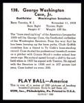 1939 Play Ball Reprints #138  George Case  Back Thumbnail