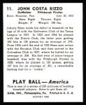 1939 Play Ball Reprints #11  Johnny Rizzo  Back Thumbnail