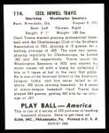 1939 Play Ball Reprints #114  Cecil Travis  Back Thumbnail