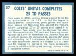 1961 Topps #57   -  Johnny Unitas 1960 Football Highlights Back Thumbnail