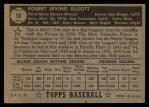 1952 Topps #14 BLK  Bob Elliott Back Thumbnail
