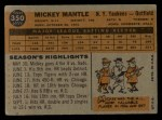 1960 Topps #350  Mickey Mantle  Back Thumbnail