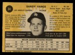 1971 O-Pee-Chee #34  Sandy Vance  Back Thumbnail