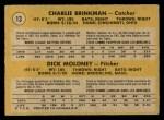 1971 O-Pee-Chee #13   -  Charlie Brinkman / Dick Moloney  White Sox Rookies   Back Thumbnail