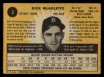 1971 O-Pee-Chee #3  Dick McAuliffe  Back Thumbnail