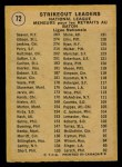 1971 O-Pee-Chee #72   -  Bob Gibson / Fergie Jenkins / Tom Seaver NL Strikeout Leaders Back Thumbnail