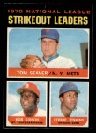 1971 O-Pee-Chee #72   -  Bob Gibson / Fergie Jenkins / Tom Seaver NL Strikeout Leaders Front Thumbnail