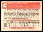 1952 Topps Reprints #207  Mickey Harris  Back Thumbnail