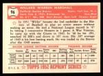 1952 Topps Reprints #96  Willard Marshall  Back Thumbnail