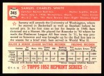 1952 Topps Reprints #345  Sammy White  Back Thumbnail