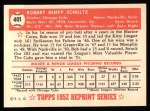1952 Topps Reprints #401  Bob Schultz  Back Thumbnail
